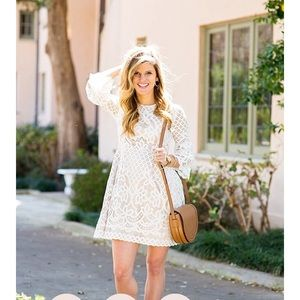 Eliza J white lace dress with bell sleeves size 6